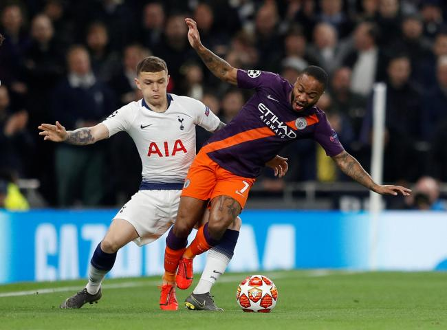 Kieran Trippier challenges Manchester City's Raheem Sterling. Picture: Action Images