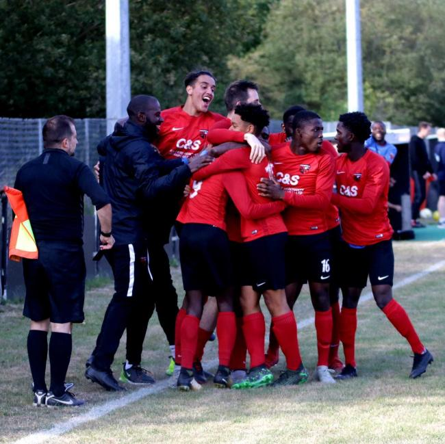 Alie Bangura's late brace sealed the win for Enfield Borough at Bedford. Picture: Ayana Images