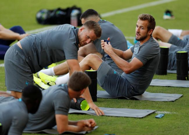 Harry Kane and his team-mates train in Greece. Picture: Action Images