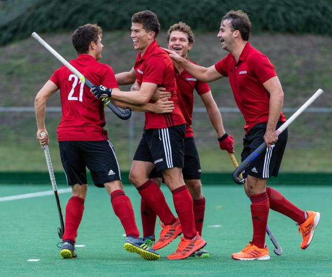 James O'Neill celebrates scoring Southgate's second goal against Canterbury in the Men's Hockey League Division 1 South. Picture: Simon Parker