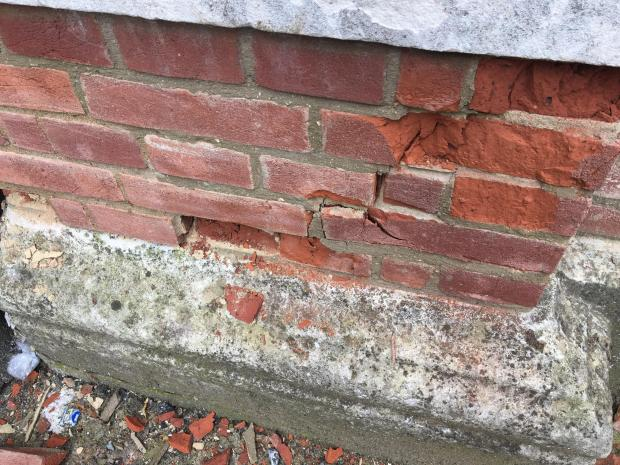 Enfield Independent: Damage to one of the pillars at the grade II-listed gateway