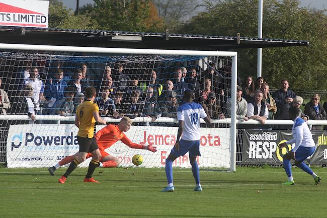 Mo Faal scored a brace for Enfield Town at home to Cheshunt. Picture: Phil Davison