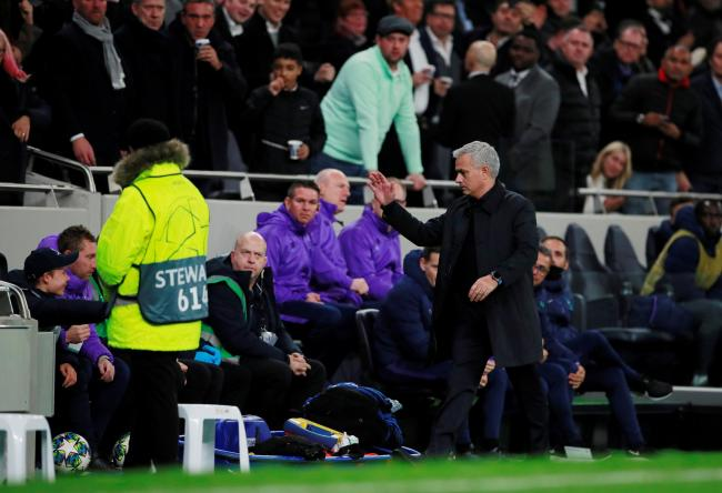 Jose Mourinho moves to celebrate with the ballboy. Picture: Action Images