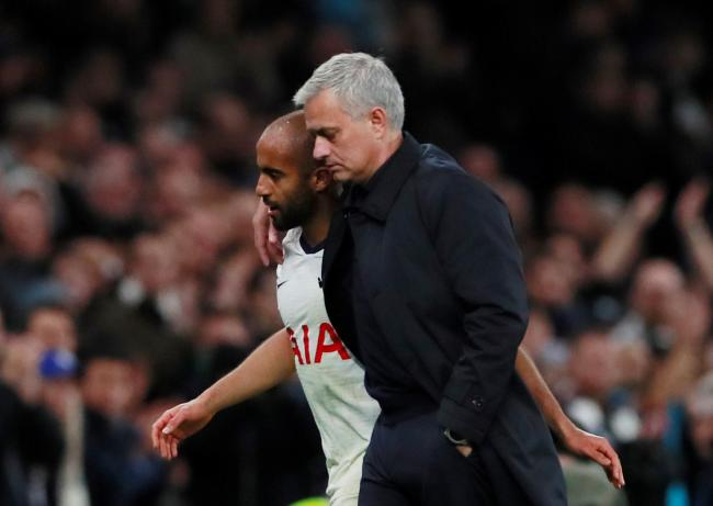 'I am happy he likes me': Lucas Moura with Jose Mourinho after last night's win. Picture: Action Images