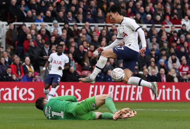 Son Heung-min is thwarted by Boro keeper Tomas Mejias. Picture: Action Images