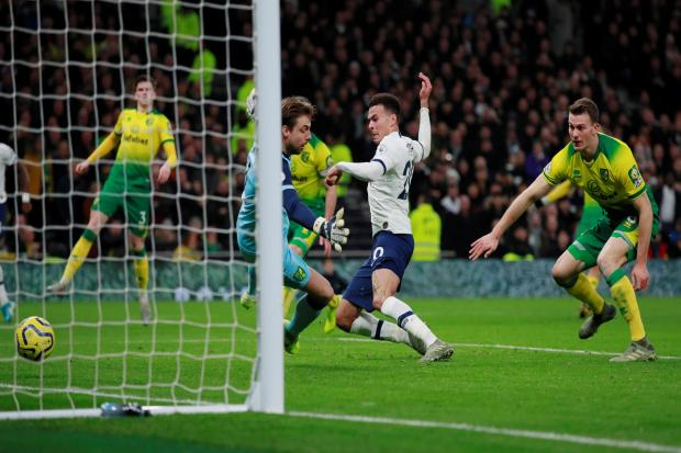 Dele Alli scores in Tottenham's midweek win over Norwich. Picture: Action Images