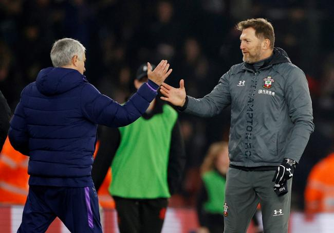 The two managers shake hands at full-time. Picture: Action Images