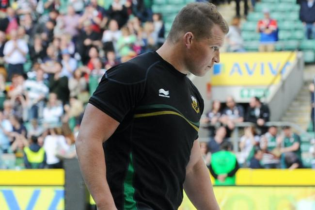 Northampton's Dylan Hartley trudges up the steps to collect his losers medal after being sent off in the Aviva Premiership final defeat against Leicester at Twickenham.