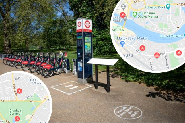 An extra 1,700 Sanatander cycles are coming to London (Photo: TfL and Google Maps / Canva).