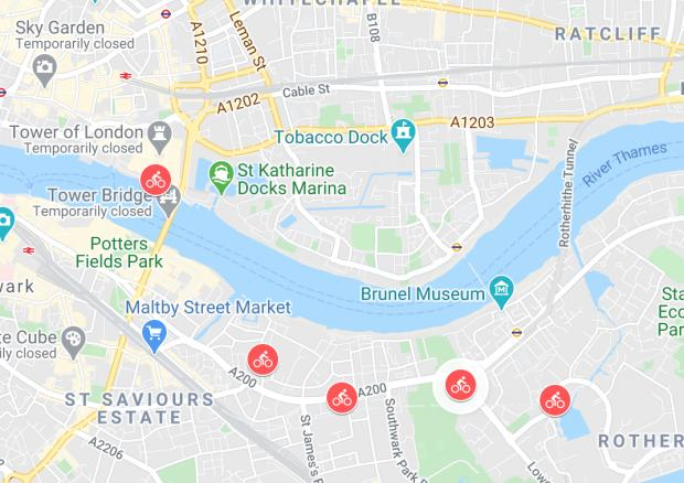 Enfield Independent: There will be four bike docks along the new Tower Bridge to Rotherhithe cycle lane – and a firth at Canada Water (Photo: Google Maps).