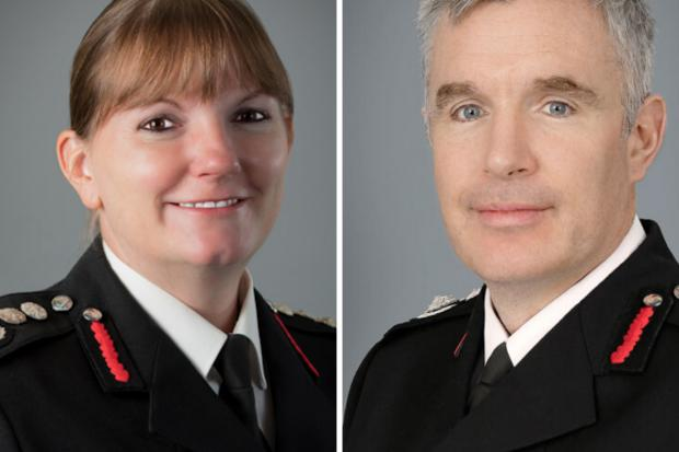 Enfield Independent: Dany Cotton (left) down was replaced by Andy Roe (right) as fire chief this year (Photo: LFB).
