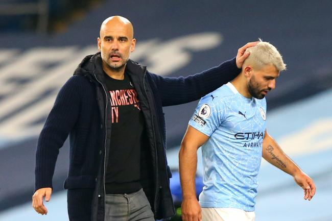 Pep Guardiola (left) will have to manage without Sergio Aguero (right) in Marseille
