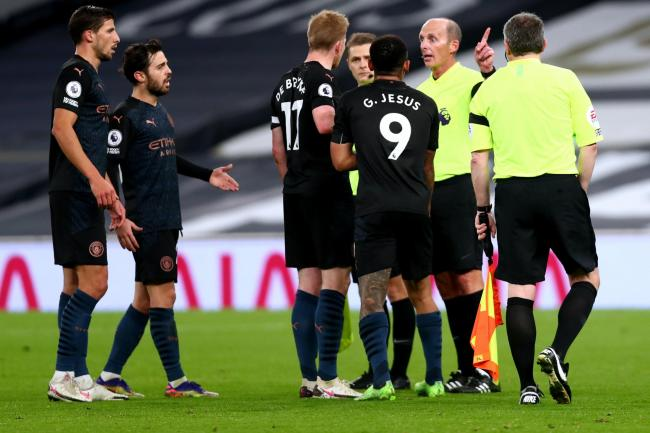 Manchester City were frustrated to have a goal disallowed by referee Mike Dean