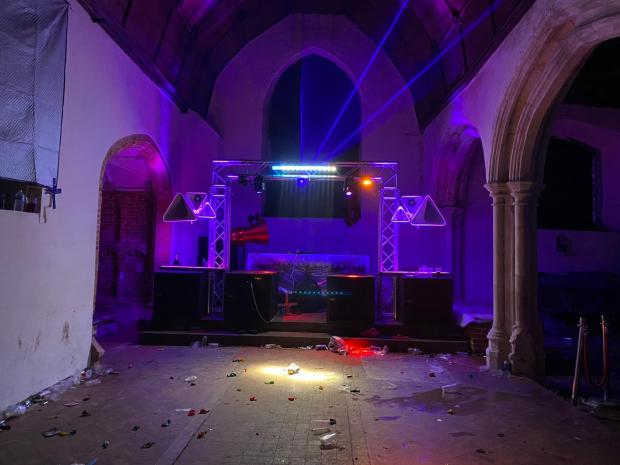 Enfield Independent: The church in Thorndon Park after revellers had left. Credit: Essex Police