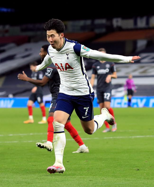 Heung Min Son celebrates scoring the second goal of the night against Brentford. Picture: PA