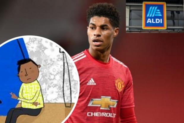 Enfield Independent: Marcus Rashford has teamed up with Aldo to help tackle child poverty. (PA/Aldi/Canva)