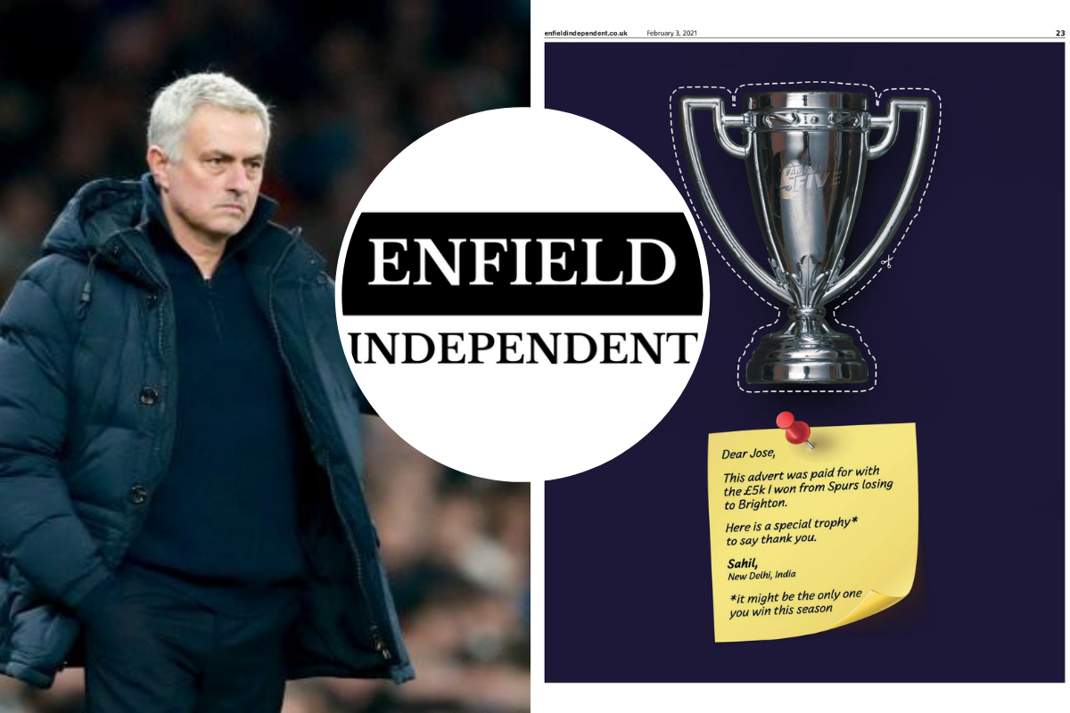 Football fan trolls Spurs boss with advert after Brighton loss - Enfield Independent