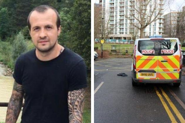 Gabriel Bringye,left, died in Jarrow Road, Tottenham Hale. Pictured right is a police vehicle in Jarrow Road