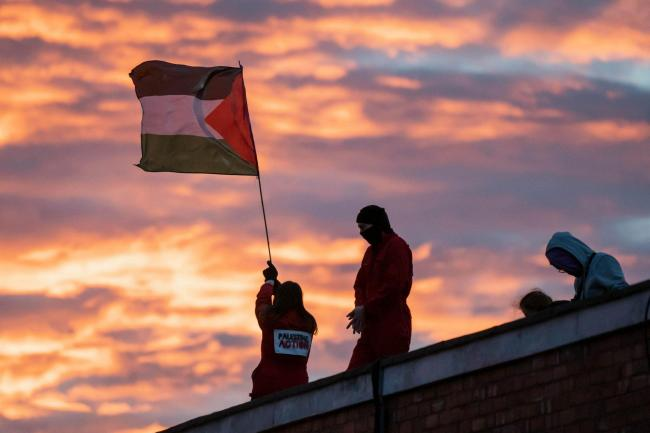 Rooftop protest at UAV Engines, Lichfield