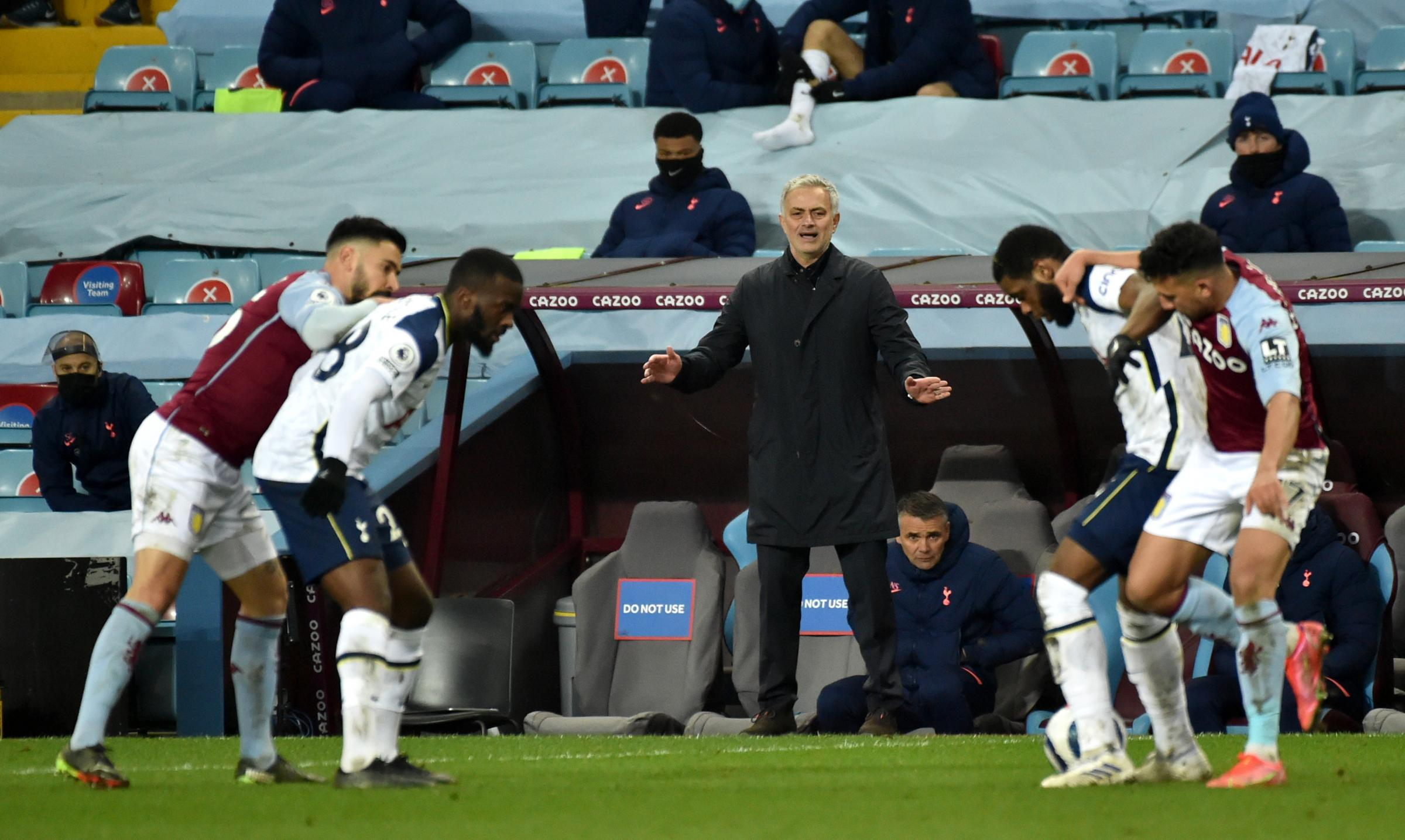 Tottenham Hotspur manager Jose Mourinho gestures from the touchline during the Premier League match at Villa Park, Birmingham. Picture date: Sunday March 21, 2021.