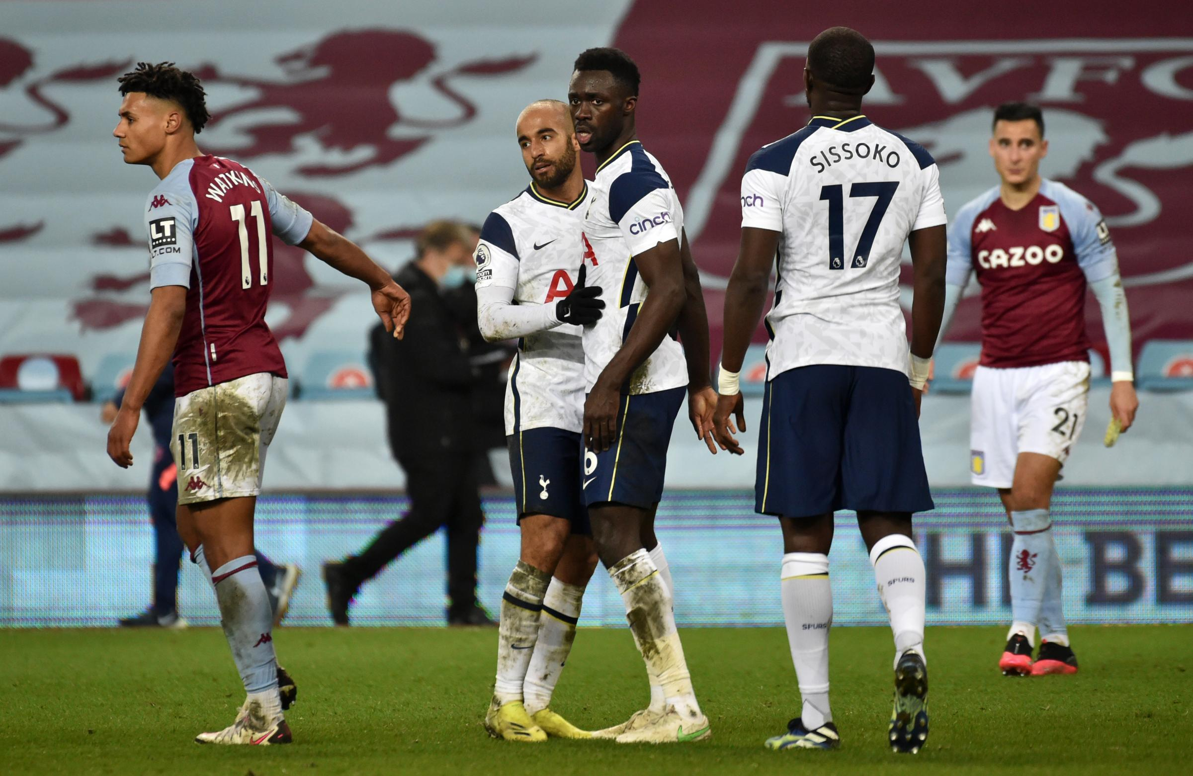 Tottenham Hotspurs Lucas Moura (left) and Davinson Sanchez celebrate victory after the Premier League match at Villa Park, Birmingham. Picture date: Sunday March 21, 2021.