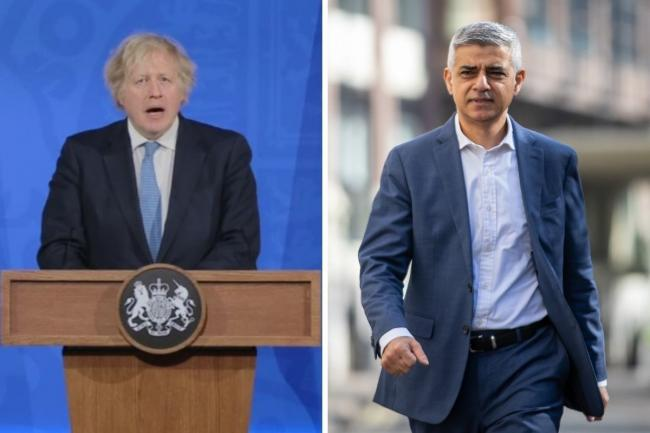 Boris Johnson took a swipe at Sadiq Khan during a televised Covid-19 briefing yesterday. Credit: PA/Newsquest