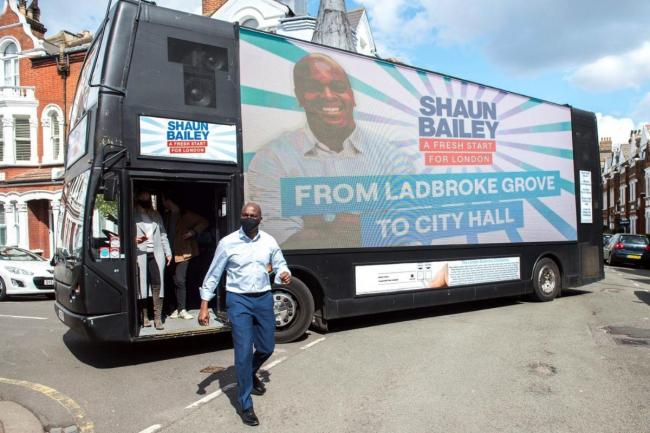 Shaun Bailey today began a 32-hour bus tour that will see him visit all 32 London boroughs. Credit: Parsons Media