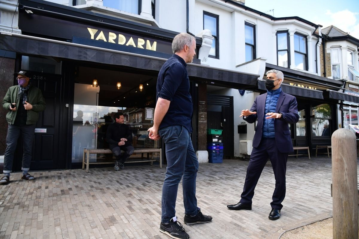 Sadiq Khan spoke to business owners and residents in Waltham Forest today ahead of the election. Credit: PA