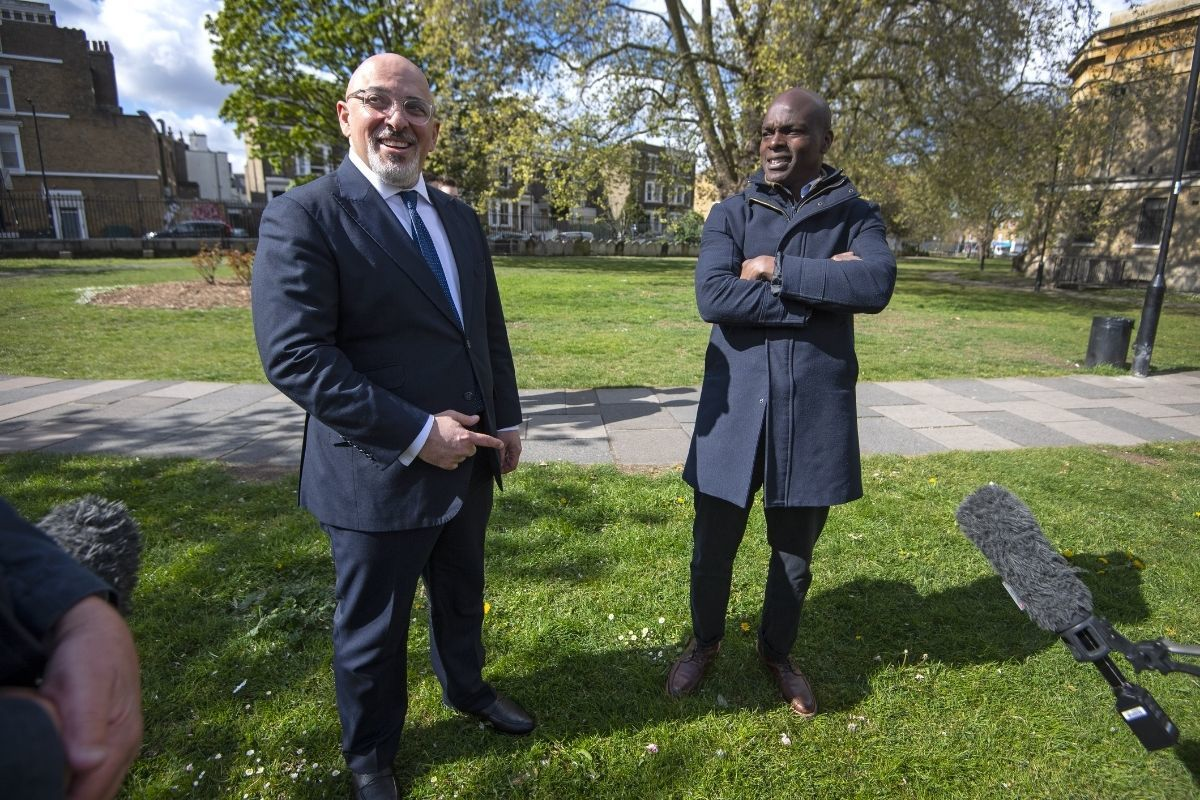 Conservative candidate Shaun Bailey was joined by vaccine minister Nadhim Zahawi in Kennington today. Credit: PA