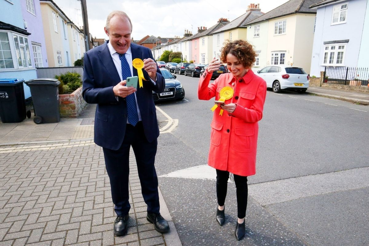 Luisa Porritt and Lib Dem leader Ed Davey canvassed voters in south west London today. Credit: PA