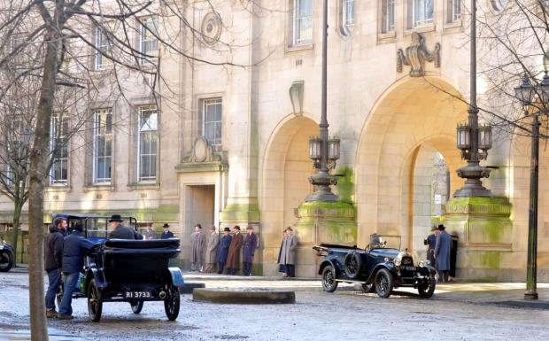 Enfield Independent: The cast of BBC's Peaky Blinders filming in Bolton last month