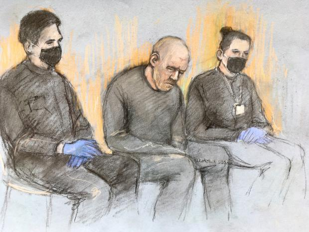 Enfield Independent: Serving police constable Wayne Couzens (centre), appearing in the dock at Westminster Magistrates' Court, in London