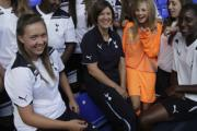 Academic goals: students pose with coach and programme leader Karen Hill at White Hart Lane