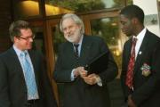 Headteacher JP Morrison with Lord Puttnam and a school pupil