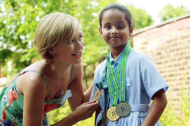 Vihangi Rajapakse with Countdown star Rachel Riley at last year's competition