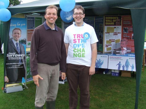 MP David Burrowes with Phillip Dawson, who set up a Facebook group to show the constituency's support for gay marriage, at a campaign event.