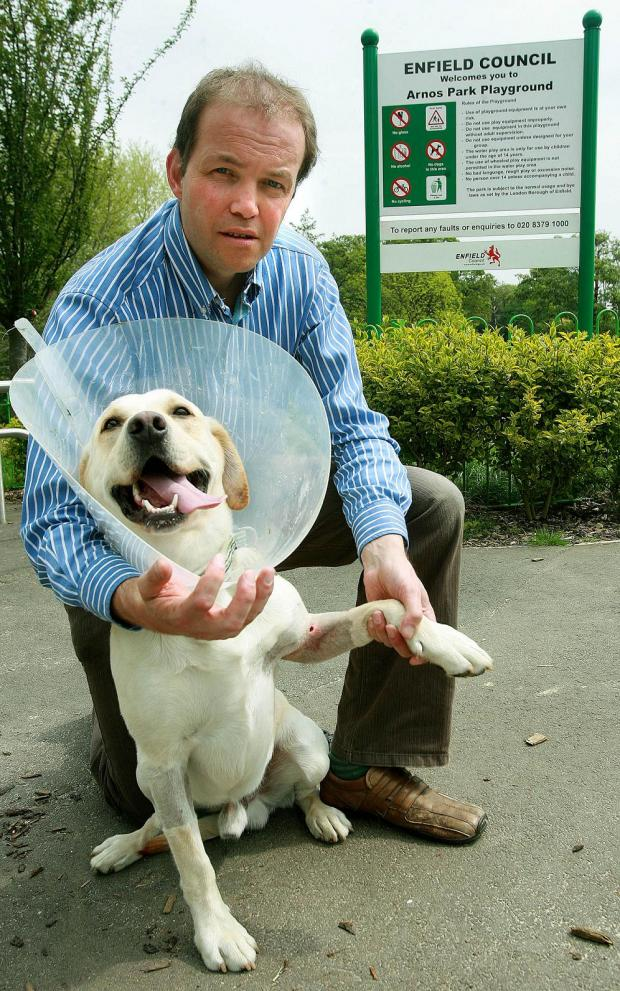 MP David Burrowes with his Labrador Cholmeley outside Arnos Park.