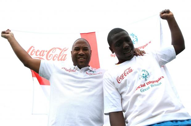 Les Dwomoh with former England international John Barnes.