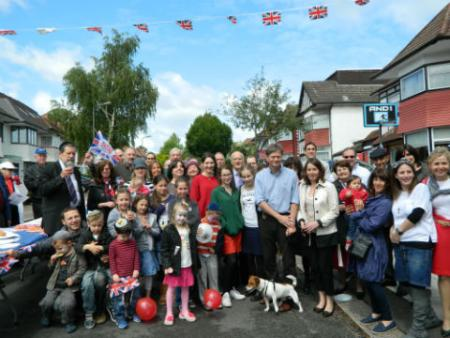 MP Matthew Offord joins street party in Mayfield Gardens, Hendon.