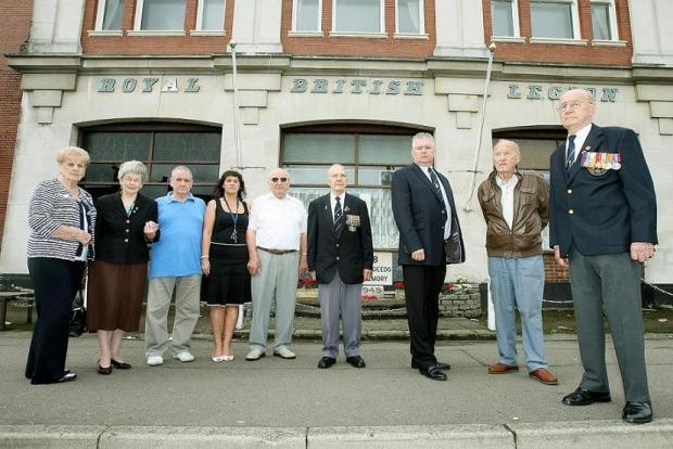 Club members outside the Royal British Legion club in Holtwhites Hill