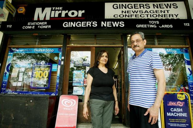 Sagar and Sashi Karamsadkar outside Ginger's News