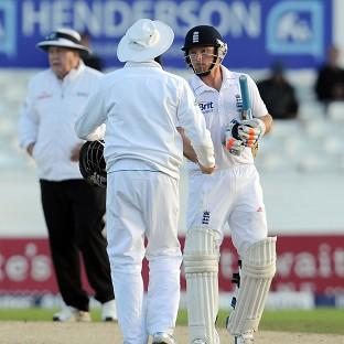 England's Ian Bell, right, was at the crease as England closed on 130 for four