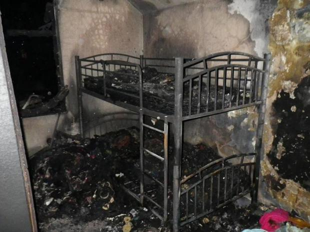 The fire caused extensive damage to a back bedroom