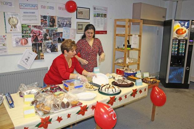 Staff sell cakes to raise money for the British Heart Foundation