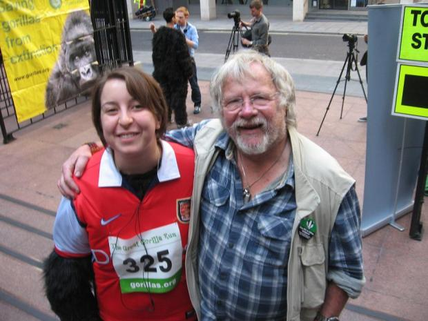 Courtney Hagen with Gorilla Organisation patron Bill Oddie