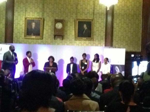 MP Diane Abbott with A-Level shortlisted girls Yewande Adesida, Adekonyinsola Aromolaran, Samara Linton and Sonia Mason