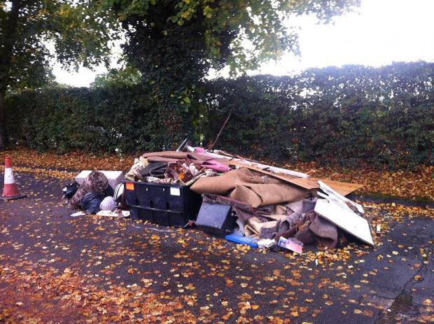 The rubbish was left in the middle of Bramley Road