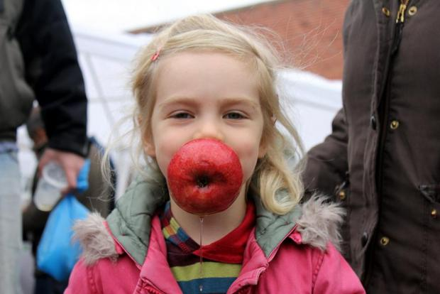 Crowds enjoyed apple bobbing at Forty Hall Farm