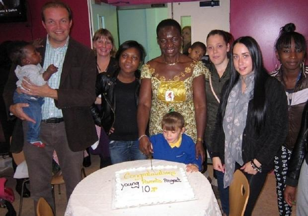 The Mayor of Enfield with MP David Burrowes, staff and young parents on Thursday