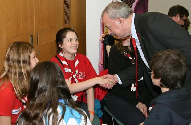 Edmonton MP Andy Love meeting Scouts from his constituency